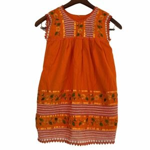 Mexican Dress Girls Size 8 Floral Embroidered